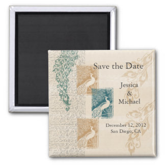 Elegant Peacocks Save the Date Square Magnet