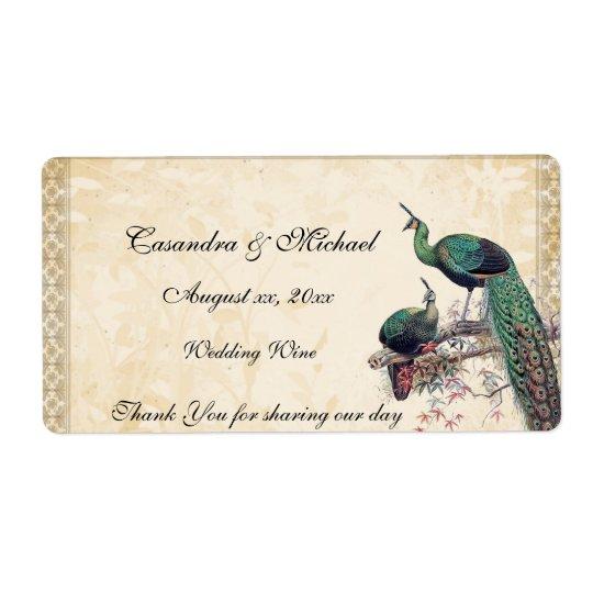 Elegant Peacocks Wedding Wine Label