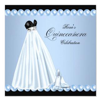 Elegant Pearl Baby Blue Quinceanera Invitations