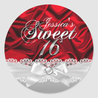 Elegant Pearl Bow & Red Silk Sweet Sixteen Sticker