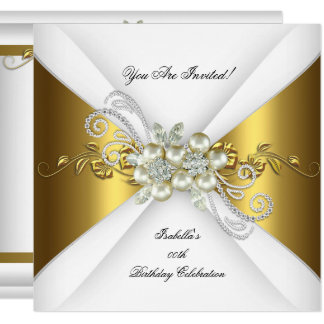 Elegant Pearl Gold Silver Diamond Birthday Party 2 Card