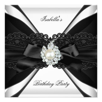 Elegant Pearl Jewel Black White Birthday Party Custom Invitation