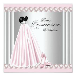 Elegant Pearl Silver Pink Quinceanera Invitations