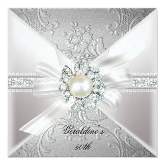 "Elegant Pearl White Silver 50th Birthday Party 5.25"" Square Invitation Card"