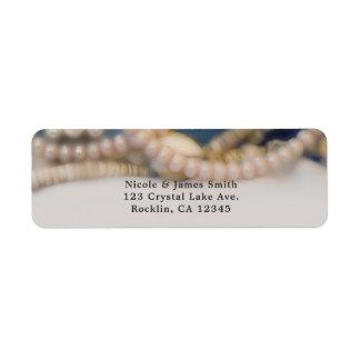 Elegant Pearls & Sea Shells Beach Wedding Return Address Label