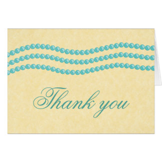 Elegant Pearls Thank You Card, Turquoise Note Card