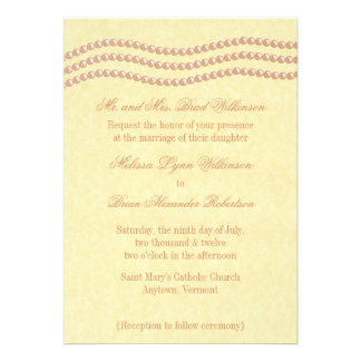 Elegant Pearls Wedding Invitation, Champagne