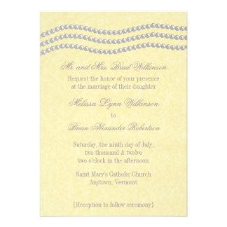 Elegant Pearls Wedding Invitation, Ivory