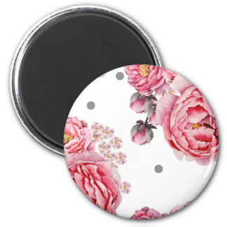 Elegant Peonies Floral 2 Inch Round Magnet