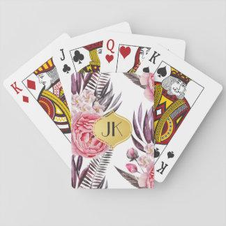 Elegant Peonies Floral Playing Cards