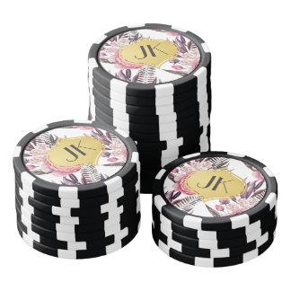 Elegant Peonies Floral Poker Chips
