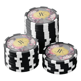 Elegant Peonies Floral Poker Chips Set