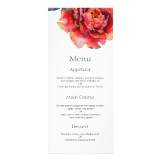 Elegant peony watercolor wedding menu