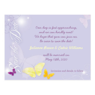 Elegant Periwinkle Blush Wedding Save the Date Postcard