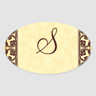 Elegant Personal Monogram in Brown Oval Sticker