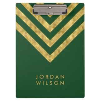 Elegant Personalize Name Green Faux Gold Chevron Clipboard