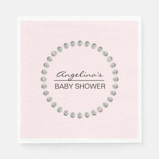 Elegant Personalized Baby Shower - Diamonds, Girl Disposable Napkin