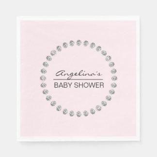 Elegant Personalized Baby Shower - Diamonds, Girl Napkin