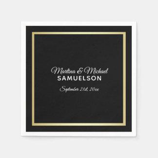 Elegant Personalized Black Gold Frame Wedding Paper Napkin