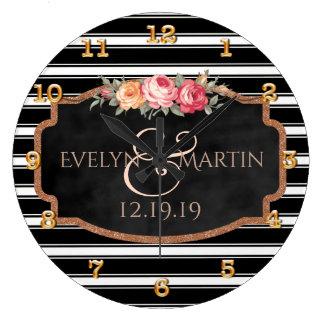 Elegant Personalized Black Rose Gold Wedding Wallclocks