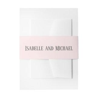Elegant Personalized Blush Pink  Wedding Invitation Belly Band