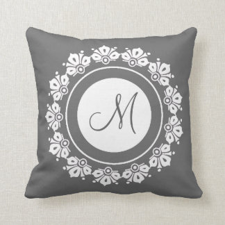 Elegant Personalized gray and white monogrammed Throw Pillow