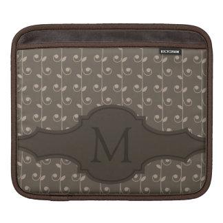 Elegant Personalized Monogram Brown Beige Pattern iPad Sleeves