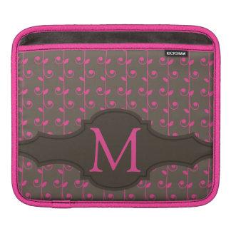 Elegant Personalized Monogram Brown Pink Pattern Sleeve For iPads