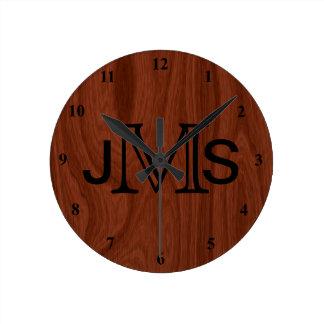 Elegant Personalized Monogram | Mahogany Wood Look Round Clock