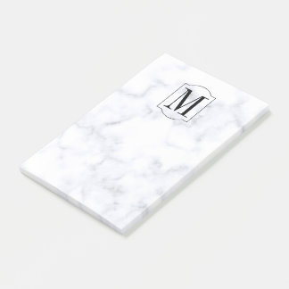 Elegant Personalized Monogram Marble Post-it Notes