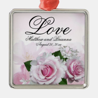Elegant Personalized Pink Floral Love Wedding Metal Ornament