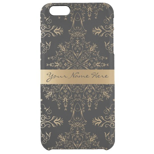 Elegant Personalized Vintage Golden Damask Clear iPhone 6 Plus Case