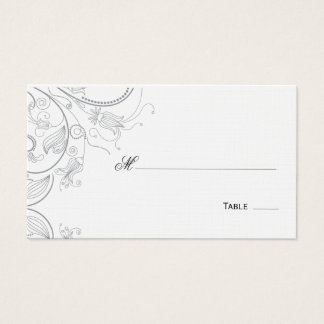 Elegant Pewter Floral Table Seating/Place Card