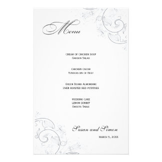 Elegant Pewter Floral Wedding Menu Stationery
