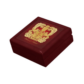 Elegant Phoenix Gold Chinese Double Happiness Gift Box
