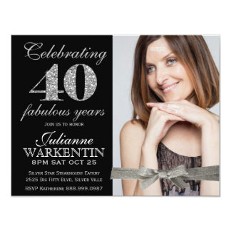 Elegant Photo 40th Birthday Celebration Card