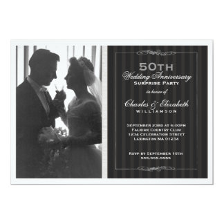 "Elegant Photo 50th Wedding Anniversary Party 5"" X 7"" Invitation Card"
