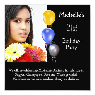 Elegant Photo Balloons 21st Birthday Card