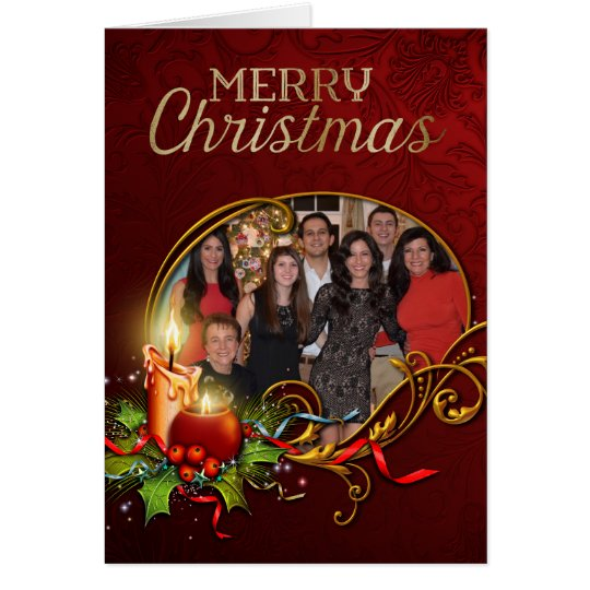 Elegant Photo Christmas Card with Glowing Candle