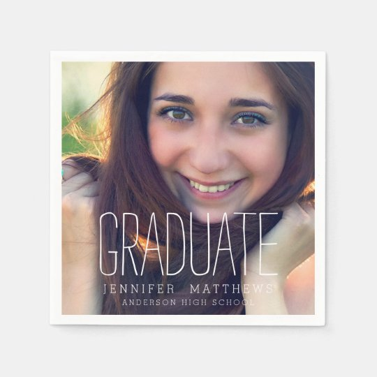 Elegant Photo Graduation Party Paper Napkins