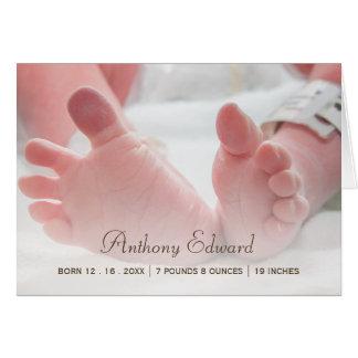 Elegant Photo Newborn Baby Feet Birth Announcement