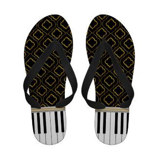 Elegant Piano Keys with Gold Quatrefoil on Black Sandals