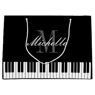 Elegant piano keys xmas gift bags with custom name