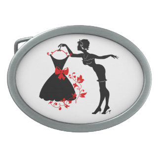 Elegant pin up stylish woman silhouette with dress belt buckle