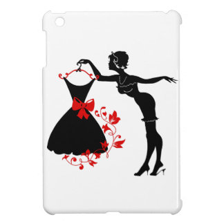 Elegant pin up stylish woman silhouette with dress cover for the iPad mini