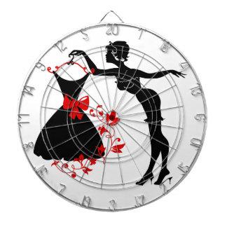Elegant pin up stylish woman silhouette with dress dartboard