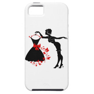 Elegant pin up stylish woman silhouette with dress iPhone 5 case