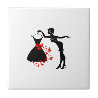 Elegant pin up stylish woman silhouette with dress tile