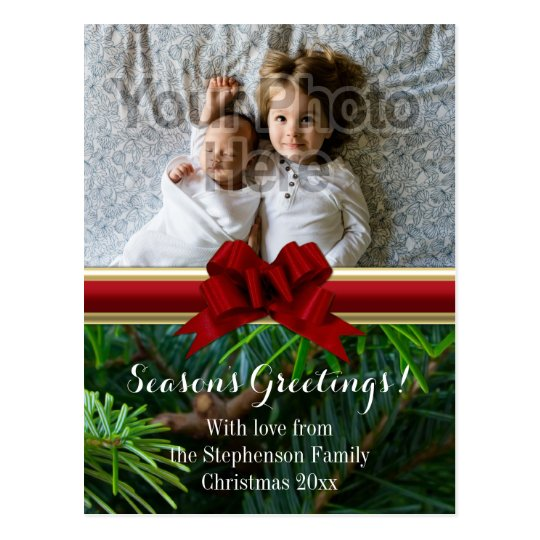 Elegant Pine Gold Red Bow Christmas Postcard