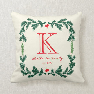Elegant Pine Monogram Holiday Throw Pillow